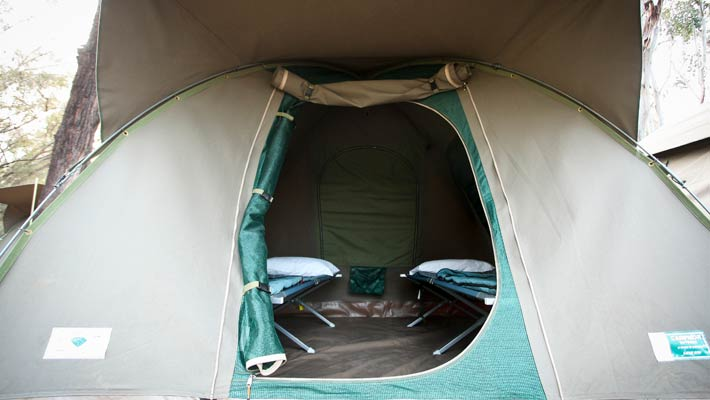 Tents can sleep up to two adults and one child