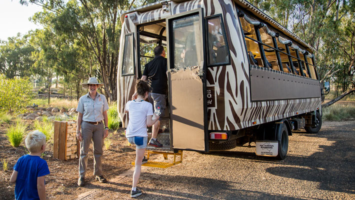 Heading out on tour. Your Zoofari experience is inclusive of exclusive guided tours.