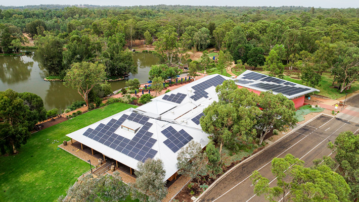 Solar installations at the Savannah Function Centre at Taronga Western Plains Zoo Dubbo.